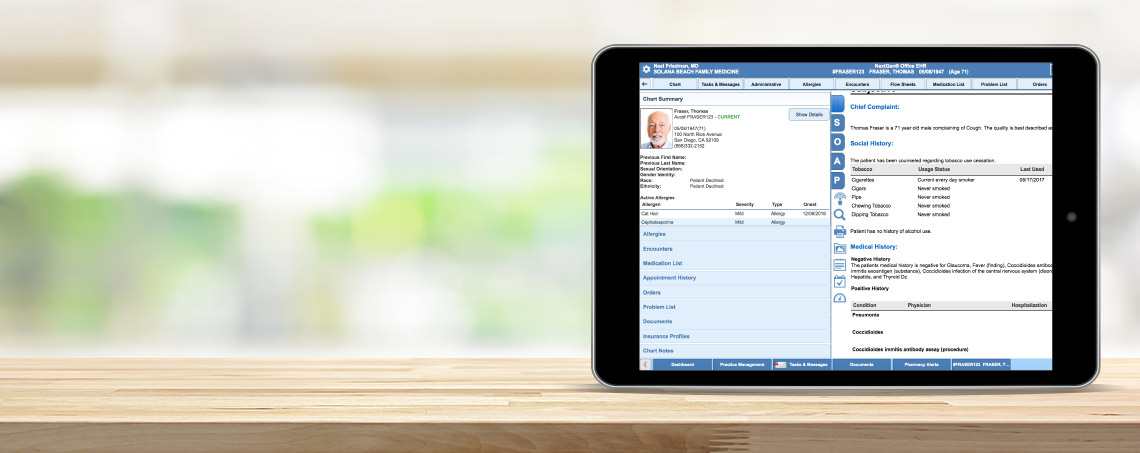 Tablet showing NextGen Office software's EHR example