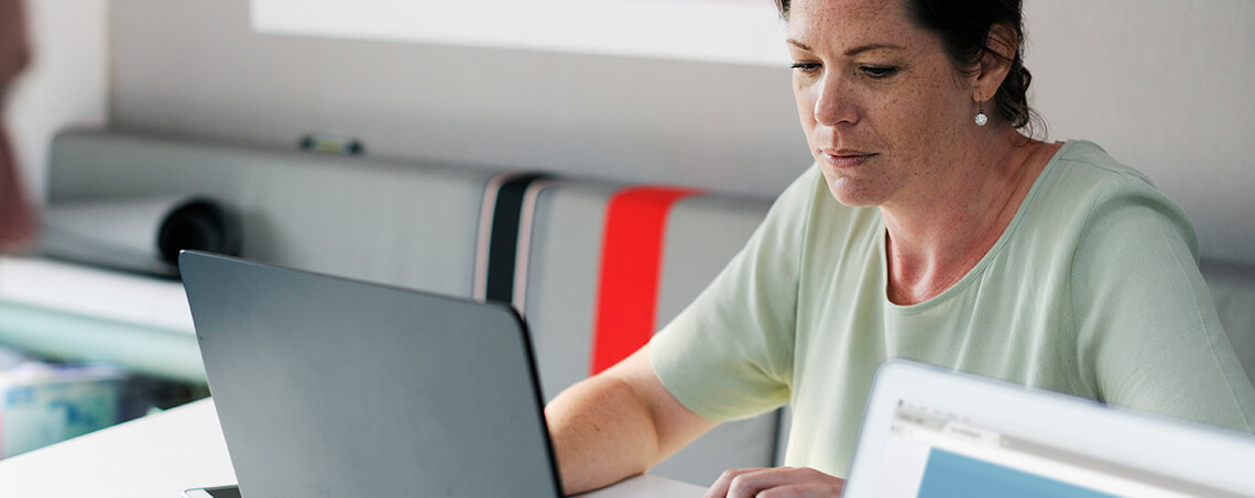Woman using a laptop